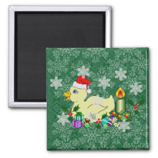 Christmas Duckie 2 Inch Square Magnet