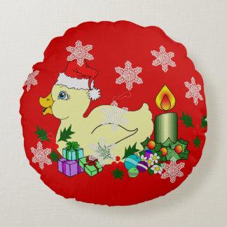 Christmas Duckie Round Pillow