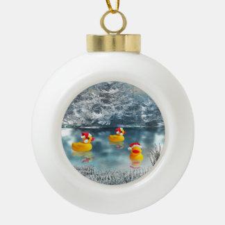 Christmas ducks ceramic ball christmas ornament