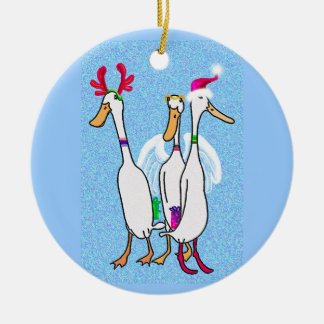 Christmas ducks Double-Sided ceramic round christmas ornament