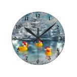 Christmas ducks round clock