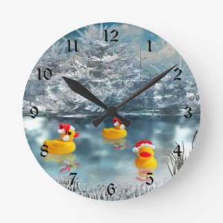 Christmas ducks round clock