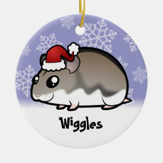 Christmas Dwarf Hamster Ceramic Ornament