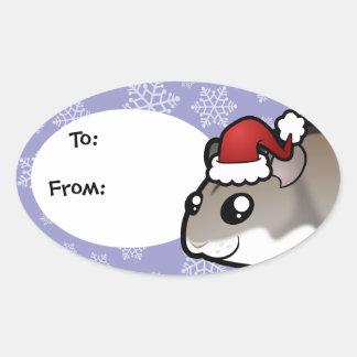 Christmas Dwarf Hamster Oval Sticker