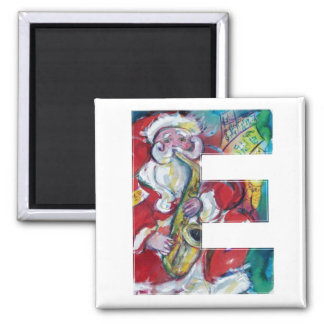 CHRISTMAS E LETTER /SANTA AND SAX MONOGRAM MAGNET