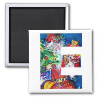 CHRISTMAS E LETTER / SANTA WITH CHRISTMAS TREE 2 INCH SQUARE MAGNET