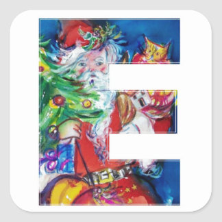 CHRISTMAS E LETTER / SANTA WITH CHRISTMAS TREE SQUARE STICKER