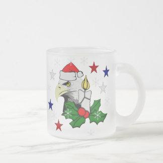 Christmas Eagle Frosted Glass Coffee Mug