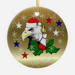 Christmas Eagle Double-Sided Ceramic Round Christmas Ornament