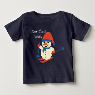 Christmas East Coast Baby cute snowman skiing Baby T-Shirt