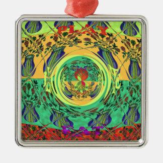 Christmas Eat Love Play Hakuna Matata Color.png Metal Ornament