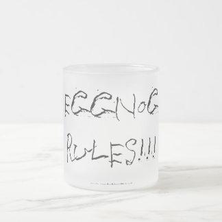 "Christmas ""eggnog rules"" - frosted glass mug"