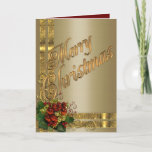 """Christmas elegance card gold and red Victorian<br><div class=""""desc"""">Christmas elegance card gold and red Victorian look custom card.</div>"""