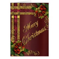 Christmas Elegance Card Gold And Red Victorian at Zazzle