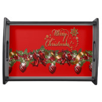 Christmas elegant wreath merry christmas RED Serving Platters