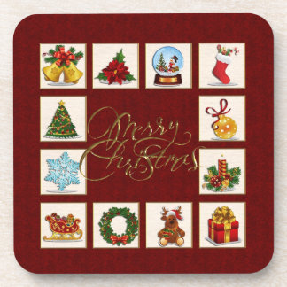 Christmas Elements Red Coaster
