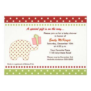 Christmas Elephant Baby Shower Invitation