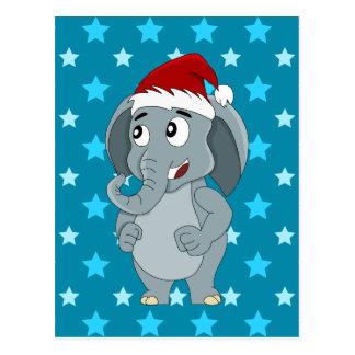 Christmas elephant cartoon postcards