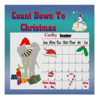 Christmas Elephant Countdown To Christmas print