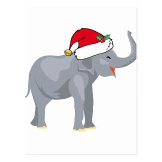 Christmas Elephant Santa Cute Postcard