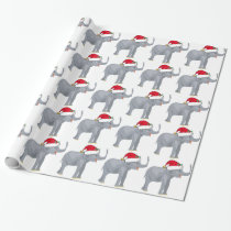 Christmas Elephant Santa Cute Wrapping Paper