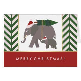 Christmas Elephants with Hats, Tree, and Chevron Card