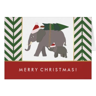 Christmas Themed Christmas Elephants with Hats, Tree, and Chevron Card