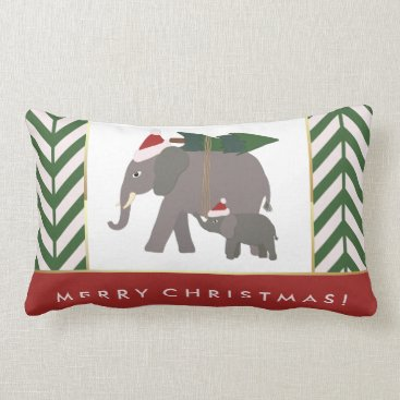 Christmas Themed Christmas Elephants with Hats, Tree, and Chevron Lumbar Pillow