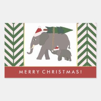 Christmas Elephants with Hats, Tree, and Chevron Rectangular Sticker