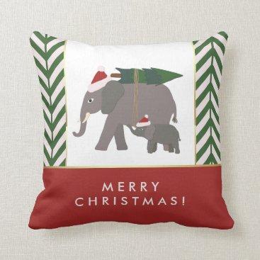 Christmas Themed Christmas Elephants with Hats, Tree, and Chevron Throw Pillow