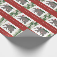 Christmas Elephants with Hats, Tree, and Stripes Wrapping Paper