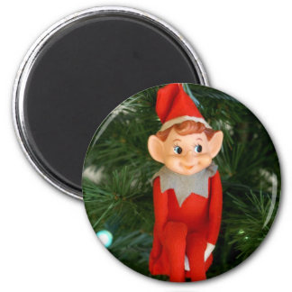 Christmas Elf 2 Inch Round Magnet