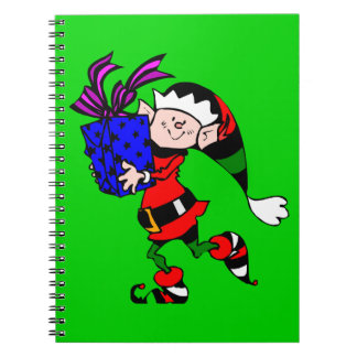 Christmas Elf And Present Spiral Notebook