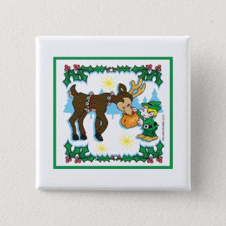 Christmas Elf and Reindeer Button