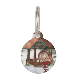 Christmas Elf at North Pole Pet ID Tags