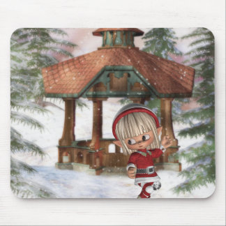 Christmas Elf at North Pole Mouse Pad