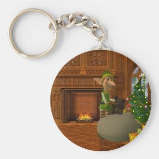 christmas Elf at work Basic Round Button Keychain