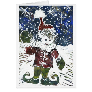 Christmas Elf - Block Print in color Card