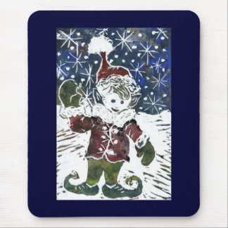 Christmas Elf - Block Print in color Mouse Pad