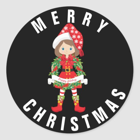 Christmas Elf/Brunette/ with Wreath/ xMas Sticker