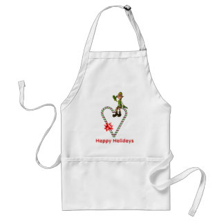 Christmas Elf Candy Cane Heart Holiday Adult Apron
