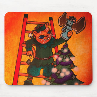 Christmas Elf Cat Mouse Pad