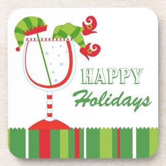 Christmas Elf Cocktail Happy Holidays Drink Coaster