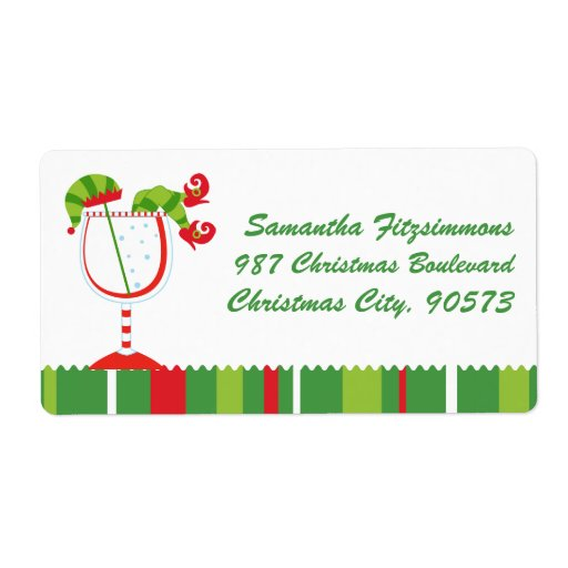 Christmas Elf Cocktail Custom Shipping Labels