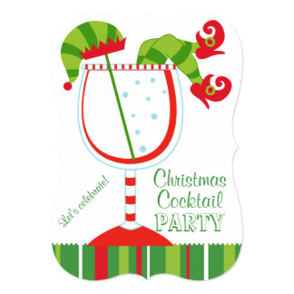 Christmas Elf Cocktail Party 5x7 Paper Invitation Card