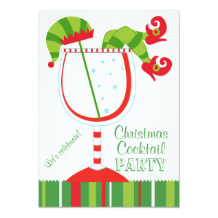 Christmas Elf Cocktail Party Card at Zazzle