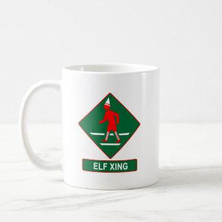 Christmas Elf Crossing Classic White Coffee Mug