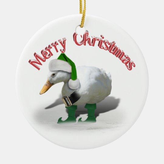 Christmas Elf Duck - Santa's Helper Ceramic Ornament