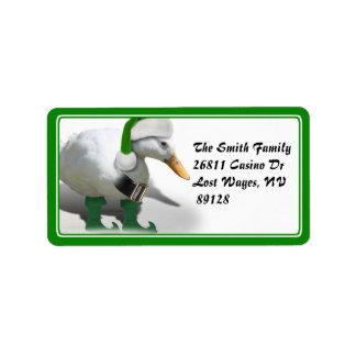 Christmas Elf Duck - Santa's Helper Label