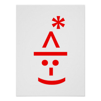 Christmas Elf Emoticon Xmas ASCII Text Art Poster
